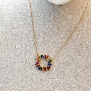 Round Baguette Rainbow Pendant Necklace